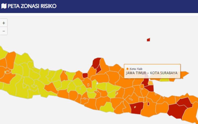 Peta zona risiko Covid-19 per Selasa (11/8 - 2020) menunjukkan Kota Surabaya zona orange diapit Gresik dan Sidoarjo yang masuk zona merah.