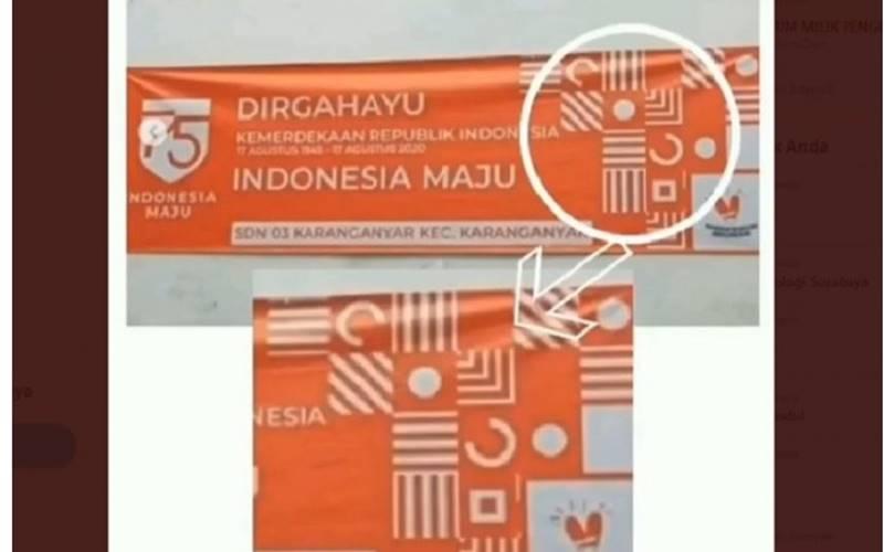 Tangkapan layar yang menunjukkan hoaks terkait lambang salib dalam logo HUT ke-75 Kemerdekaan RI. - Twitter