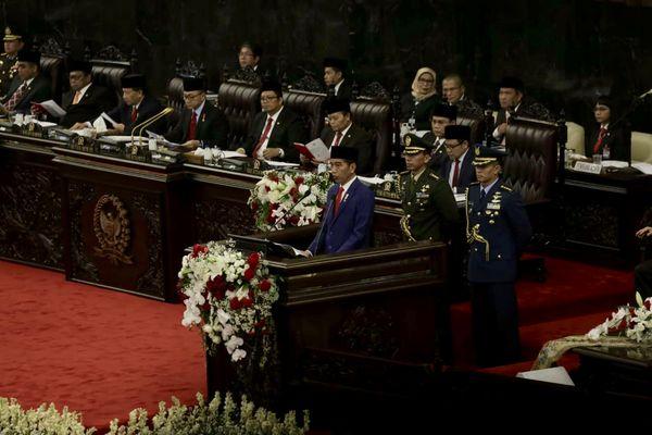 Presiden RI Joko Widodo saat menyampaikan pidato dalam Sidang Tahunan MPR, Kamis (16/8/2018). - JIBI/Felix Jody