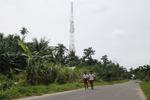 Salah satu BTS Telkomsel di daerah perbatasan. Bisnis - Istimewa