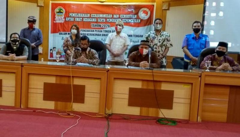 Konferensi Pers FKUB Jateng terkait aksi intolenrasi di Surakarta, pada Rabu 12 Agustus 2020. - Bisnis / Alif Nazzala Rizqi