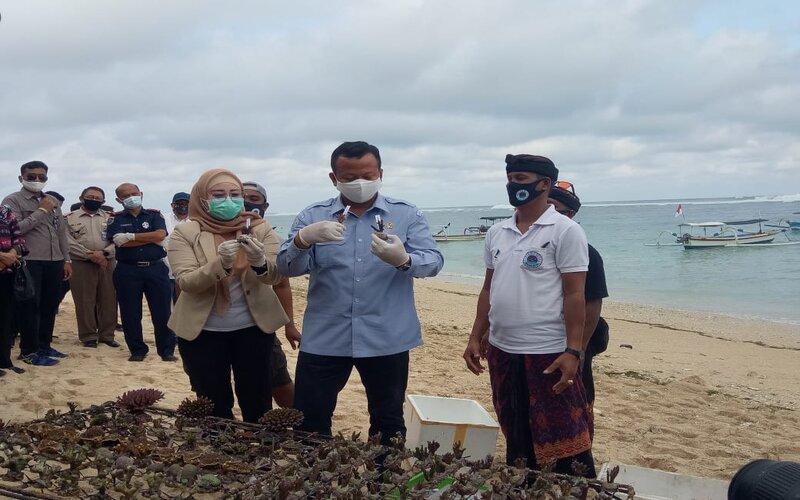Menteri Kelautan dan Perikanan RI Edhy Prabowo (tengah) bersama Kelompok Pembudidaya Karang Hias Pantai Pandawa Bali.