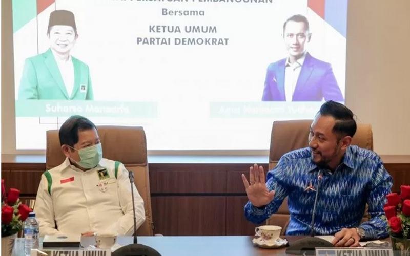 Ketua Umum DPP Partai Demokrat Agus Harimurti Yudhoyono (AHY) dan Ketua Umum DPP Partai Persatuan Pembangunan (PPP) Suharso Monoarfa di Kantor DPP PPP, Menteng, Jakarta Pusat, Rabu (12/8 - 2020).