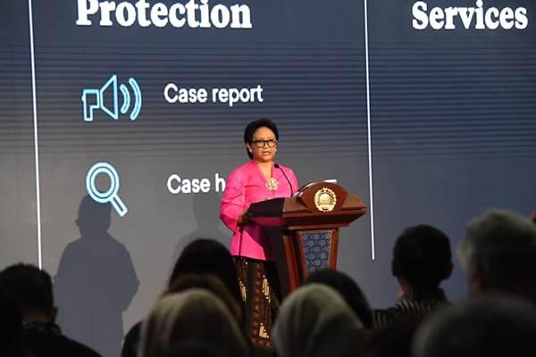 Menlu Retno Marsudi saat menyampaikan Pernyataan Pers Tahunan, di Jakarta, Rabu (9/1/2019). - Dok. Kemlu