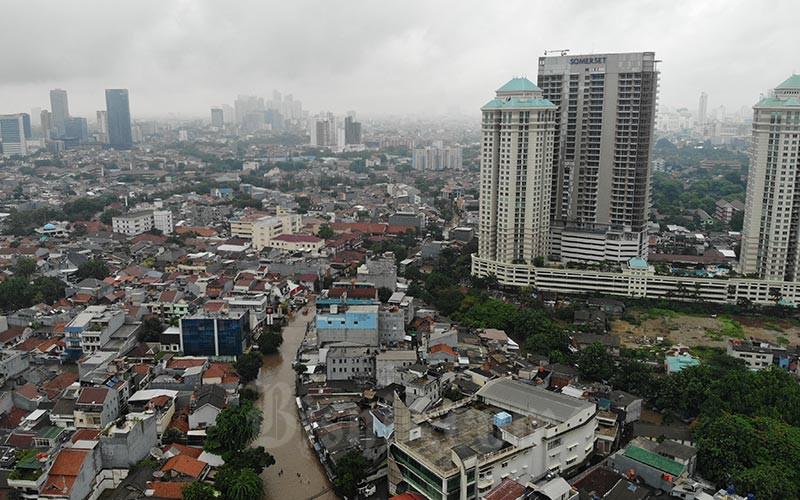 Ilustrasi - Foto Aerial banjir  di Jakarta, Rabu (1/1/2020). Bisnis - Abdullah Azzam