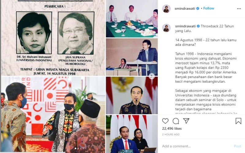 Menteri Keuangan RI Sri Mulyani Indrawati mengunggah foto dirinya pernah berada dalam satu seminar ekonomi bersama Presiden Joko Widodo di Solo 22 tahun silam. Dok. - Instagram.com