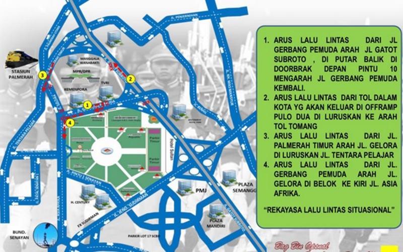 Rekayasa lalu lintas di depan gedung DPR/MPR terkait SIdang Tahunan MPR, Jumat (14/8/2020). - Istimewa