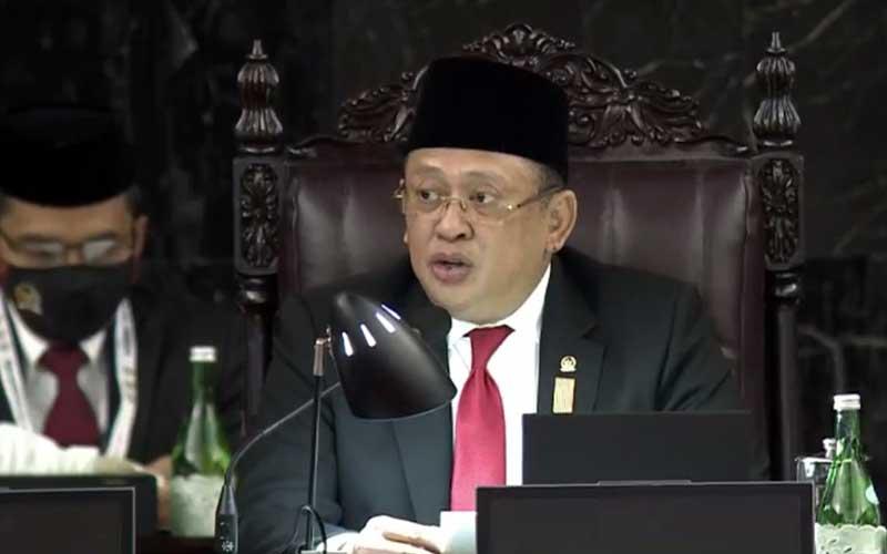 Ketua MPR RI Bambang Soesatyo memberikan sambutan saat sidang tahunan MPR di Jakarta, Jumat (14/8/2020). Binsis - TV Parlemen