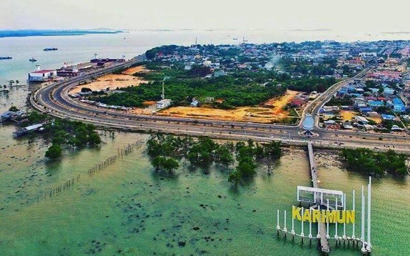 Foto aerial Kota Tanjung Balai Karimun, Kabupaten Karimun, Provinsi Kepulauan Riau. - Facebook/Postingan Tanjung Balai Karimun
