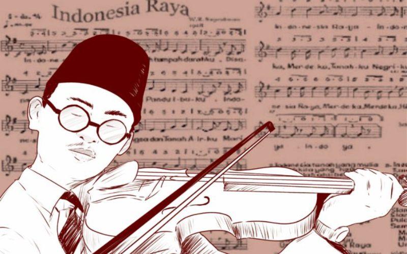 Lagu Indonesia Raya 3 stanza, yang diciptakan oleh Wage Rudolf Supratman. - Kemendikbud