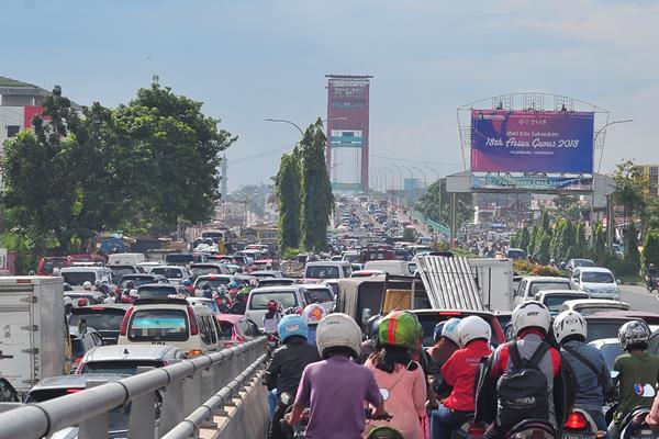 Kemacetan di Kota Palembang. - Antara