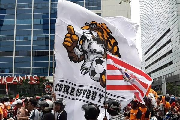 Jakmania, suporter Persija Jakarta./Bisnis.com - Aziz Rahardiyan