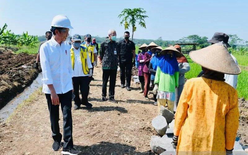 Presiden Jokowi meninjau proyek padat karya di Batang, Jawa Tengah, pada Selasa (30/6/2020). - Biro Pers Sekretariat Presiden