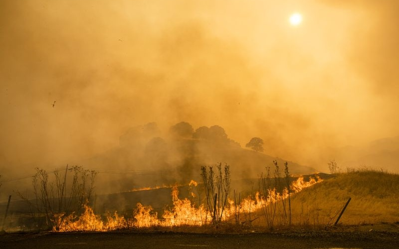 Api membakar lereng bukit di sepanjang Interstate 80. Kebakaran hutan terus meluas di Vacaville, California, AS - Bloomberg/Philip Pacheco