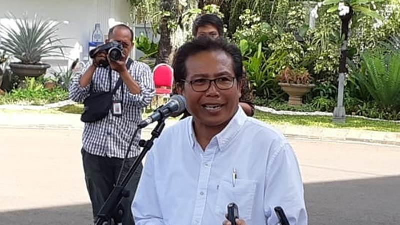 Fadjroel Rahman seusai bertemu Presiden Joko Widodo di Istana Kepresidenan Jakarta, Senin (21/10/2019) - Bisnis/Amanda Kusumawardhani