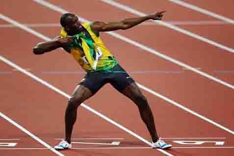 Gaya khas Usain Bolt di lintasan atletik - Reuters
