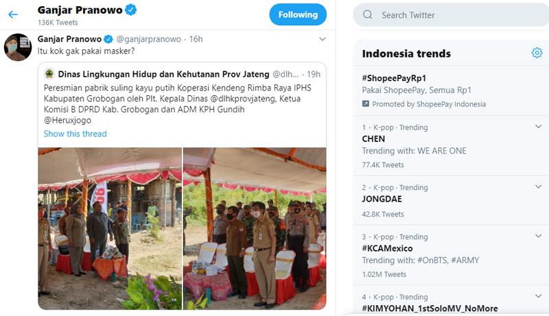 Postingan akun twitter ganjarpranowo mengomentari beberapa pejabat tak bermasker saat acara peresmian pabrik penyulingan kayu putih di Grobogan pada Senin 24 Agustus 2020