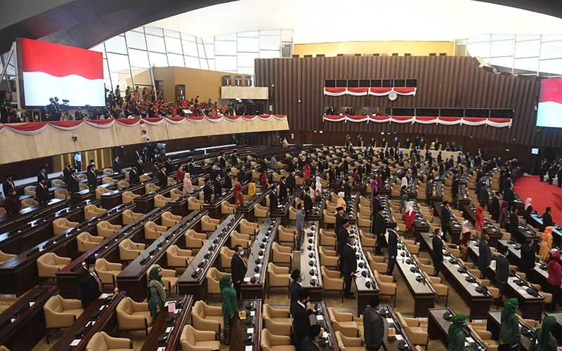 Suasana sidang tahunan MPR dan Sidang Bersama DPR-DPD di Komplek Parlemen, Senayan, Jakarta, Jumat (14/8/2020). ANTARA FOTO - Akbar Nugroho Gumay
