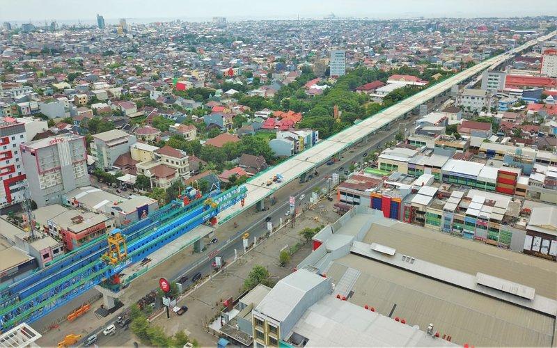 Pembangunan proyek jalan tol layang A.P. Pettarani di Makassar memasuki tahap akhir. - PT Margautama Nusantara