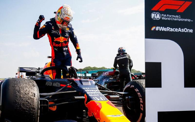 Verstappen menjadi yang tercepat di pada peringatan balap seri 70 tahun F1 Grand Prix, mendahului duo Mercedes, yakni Lewis Hamilton dan Vatteri Bottas di posisi kedua dan ketiga.  - HONDA