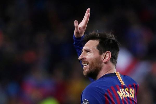 Lionel Messi seusai mencetak gol kedua melawan Manchester United - REUTERS/Sergio Perez