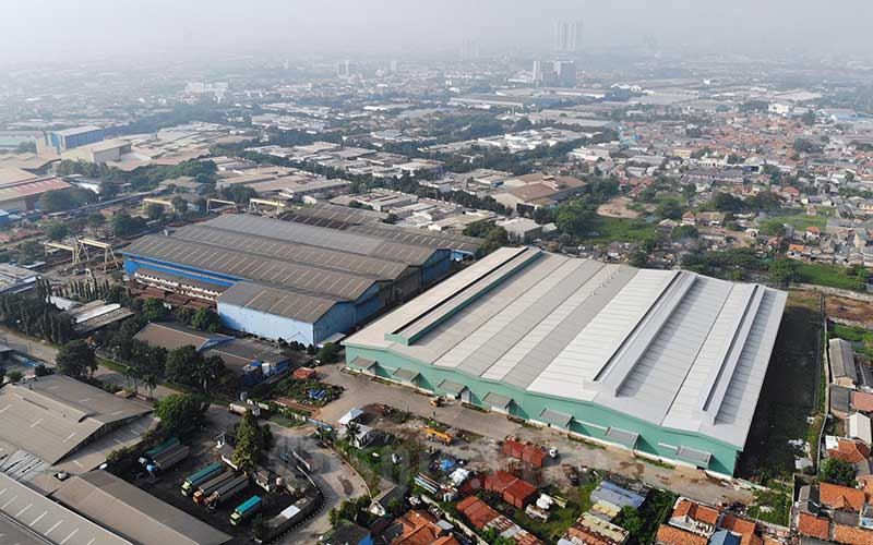 Foto aerial kawasan industri Jababeka di Cikarang, Jawa Barat. Bisnis - Himawan L Nugraha