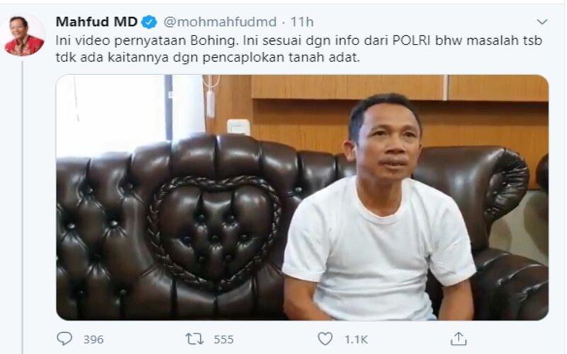 Tangkapan layar video pernyataan Effendi Buhing yang dibagikan Menkopolhukam Mahfud MD. - Ist