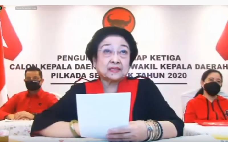 Ketua Umum PDIP Megawati Soekarnoputri dalam pengumuman gelombang ketiaga 75 pasangan calon yang diusung PDIP di Pilkada Serentak 2020, Selasa (11/8/2020). JIBI - Bisnis/Nancy Junita