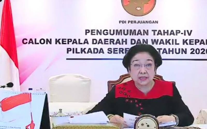 Ketua Umum PDIP Megawati Soekarnoputri saat pengumuman gelombang empat calon kepala daerah yang diusung partainya di pilkada 2020, Jumat (28/8/2020). - Youtube