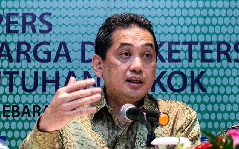 Menteri Perdagangan Agus Suparmanto memberikan keterangan pers tentang stabilisasi harga dan ketersediaan barang kebutuhan pokok terkait wabah virus corona atau Covid-19 di Jakarta, Selasa (3/3/2020). ANTARA FOTO - Aprillio Akbar