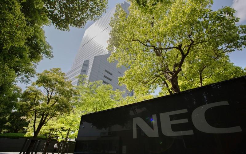 Logo NEC Corporation di Kantor Pusat NEC di Tokyo. Bloomberg - Noriyuki Aida
