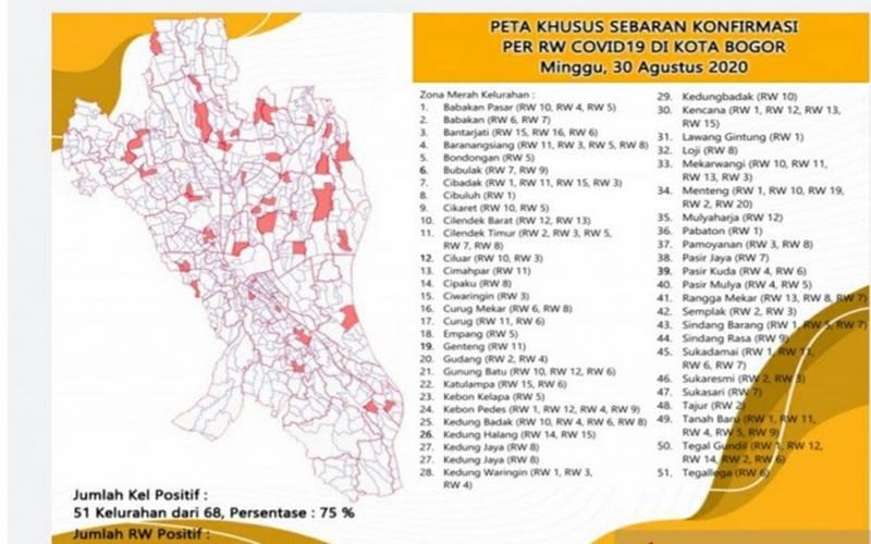 Peta khusus sebaran konfirmasi positif Covid-19 di Kota Bogor, yang diakses pada Minggu (30/8/2020). - Antara