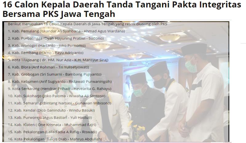 16 paslon PKS di Jawa Tengah, tak ada nama Gibran Rakabuming Raka