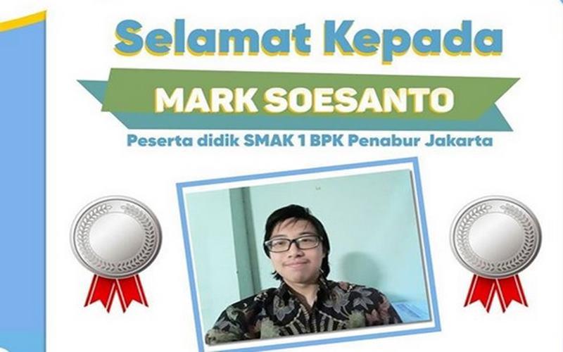 Pelajar dari SMAK 1 BPK Penabur Jakarta, Mark Soesanto, meraih medali dalam ajang Olimpiade Kimia Internasional 2020. - Instagram@disdikdki