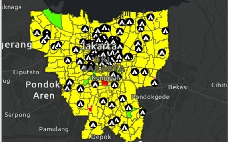 Tangkapan layar zonasi wabah Covid-19 di Jakarta, Selasa (1/9/2020) di coronajakarta.go.id. JIBI - Bisnis/Mutiara Nasbila