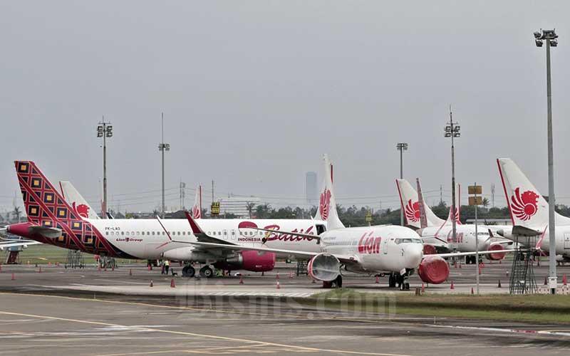 Sejumlah pesawat terpakir di Bandara Soekarno Hatta, Tangerang, Banten./Bisnis - Eusebio Chrysnamurti
