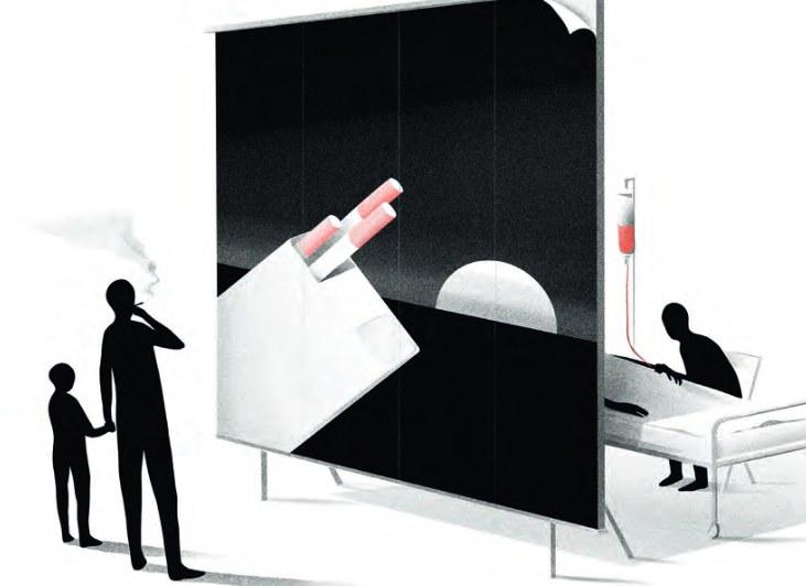 Seorang ayah bersama anaknya sedang memandang iklan rokok. - ilustras/Tobacco Atlas