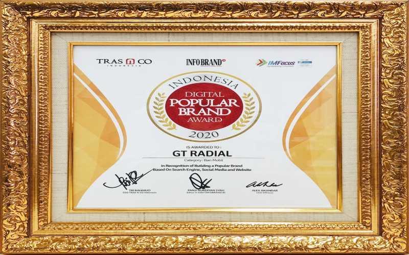 GJTL GT Radial dan IRC Gaet Penghargaan Indonesia Digital Popular Brand Award 2020 - Otomotif Bisnis.com