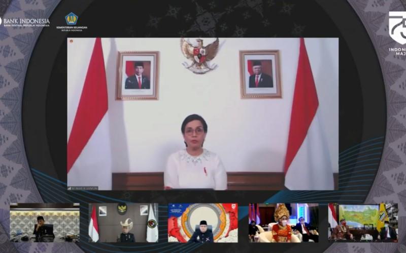Menteri Keuangan Sri Mulyani dalam acara virtual perilisan Uang Peringatan Kemerdekaan 75 Tahun RI - Bank Indonesia