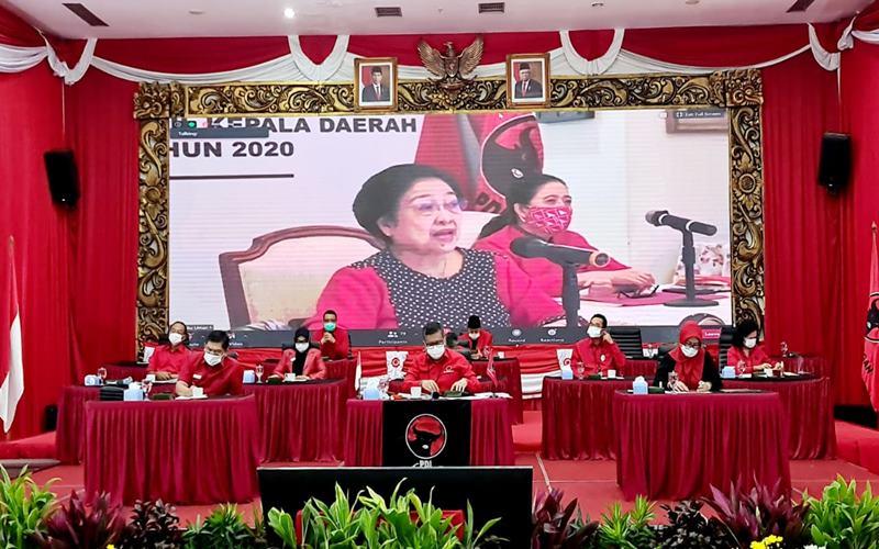 Ketua Umum DPP PDIP Megawati Soekarnoputri dalam dalam acara pengumuman calon kepala daerah dan wakil kepala daerah gelombang kelima melalui telekonferensi, Rabu (2/9 - 2020).