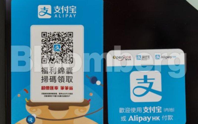 Quick Response (QR), kode untuk pembayaran digital menggunakan Alipay dari Ant Group di Hong Kong, Selasa (1/8/2020). - Bloomberg