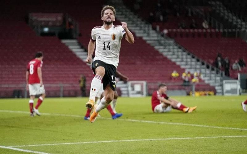 Penyerang Timnas Belgia Dries Mertens selepas menjebol gawang Denmark./Antara - Reuters