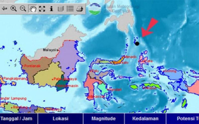 Lokasi Gempa 6,9 SR di Melonguane Sulawesi Utara.  - Antara/BMKG