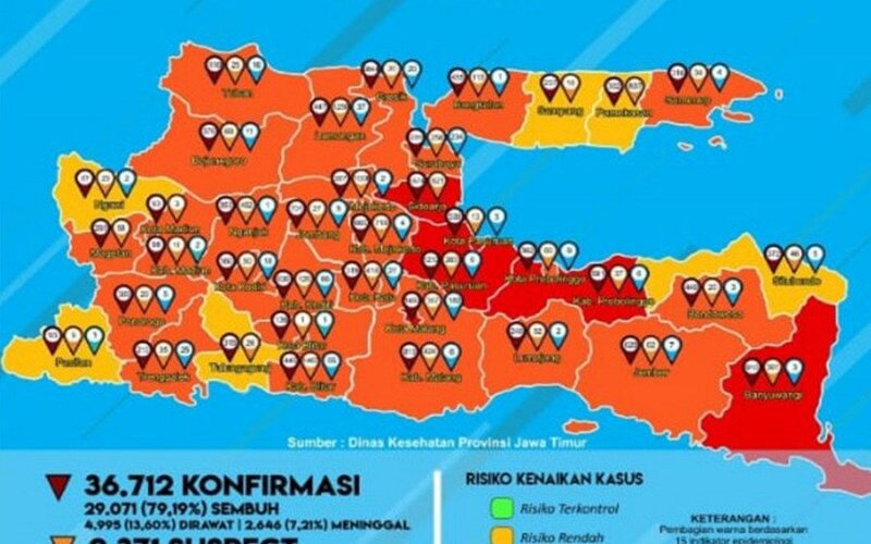 Peta zona risiko Covid/19 di Jatim.