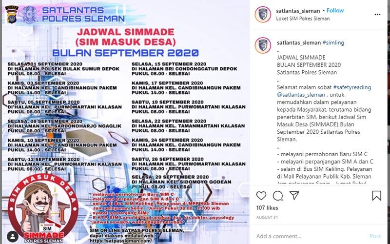Jadwal SIM Masuk Desa di Kabupaten Sleman selama September 2020