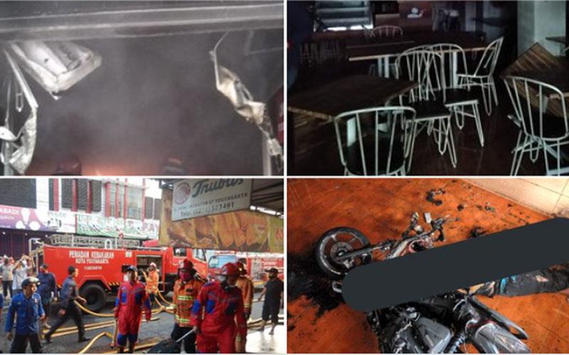 Detik/detik pemadaman Toko Roti Trubus di Jl. Poncowinatan No.67  Yogyakarta, yang terbakar Sabtu 12 Septembar 05.30 WIB. Foto: twitter damkarjogja113