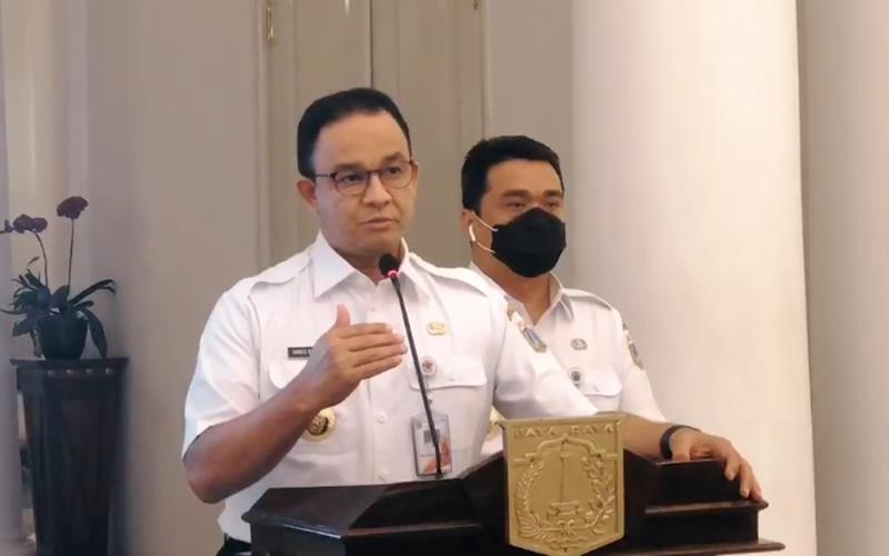 Gubernur DKI Jakarta Anies Baswedan dan Wagub DKI Amad Riza Patria memberi penjelasan perihal diberlakukannya kembali PSBB seperti awal pandemi Covid-19, Rabu (9/9/2020). - Bisnis/Nancy Junita