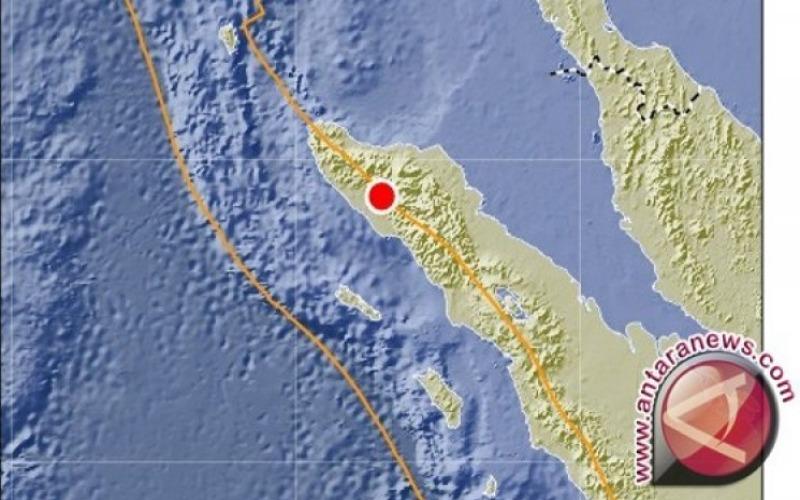 Ilustrasi: Titik merah menunjukkan lokasi pusat gempa di dekat Kabupaten Nagan Raya, Aceh. - ANTARA News/BMKG)
