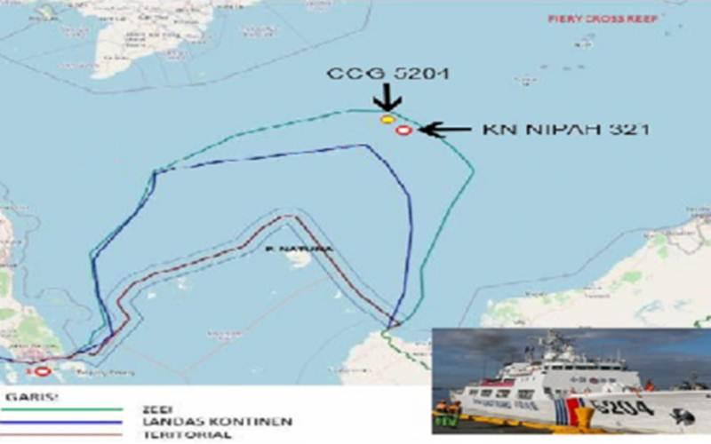 Ilustrasi-Posisi KN Pulau Nipah-321 dan kapal Penjaga Pantai China nomor lambung 5204, di zona ekonomi eksklusif Indonesia di Laut Natuna Utara. - Antara/HO Badan Keamanan Laut