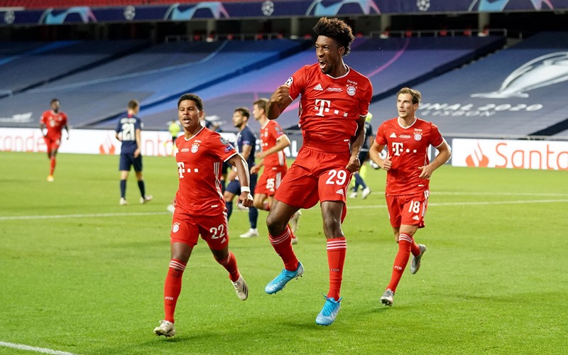Pemain Bayern Munchen, Kingsley Coman usai menjebol gawang PSG di Final Liga Champions - Twitter @Championsleague